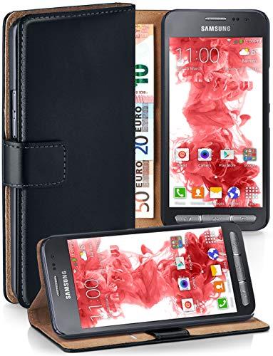 moex Premium Handytasche kompatibel mit Samsung Galaxy Xcover 3 - Klapphülle mit Kartenfach und Ständer, magnetische Handy Tasche - Flip Case Schutzhülle, Schwarz