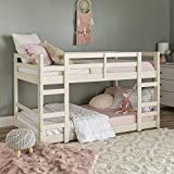 Walker Edison Wood Twin Bunk Kids Bed Bedroom with Guard Rail and Ladder, White