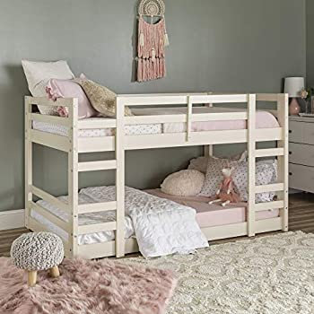 Walker Edison Alexander Classic Solid Wood Stackable Jr Twin over Twin Bunk Bed Twin over Twin White