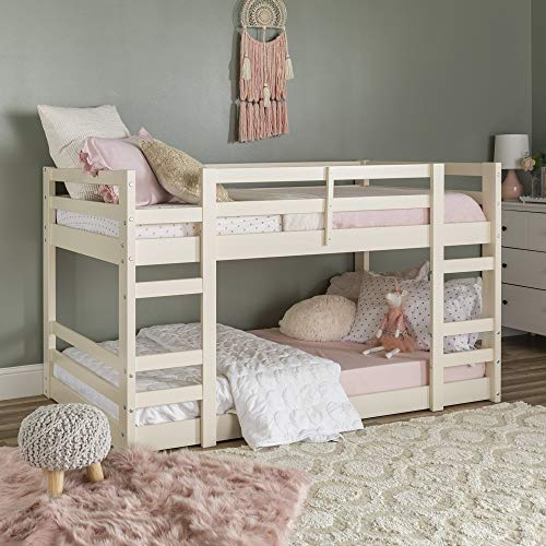 Walker Edison Furniture Company Wood Twin Bunk Kids Bed Bedroom with Guard Rail and Ladder Easy Assembly, White