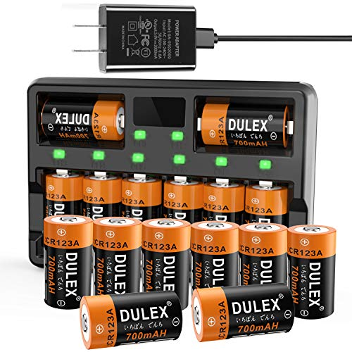 CR123A Batteries 16 Pack, DULEX 800mAH Arlo Batteries Rechargeable and Charger for Arlo VMC3030 3200 3330 3430 3530 Security Cameras, Alarm System, Flashlight