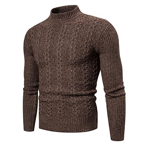 Suéter Tipo pulóver para Hombre, Manga Larga, Cuello Redondo, Ligero, Fino, Tejido de Cable, Color sólido, Talla Grande L