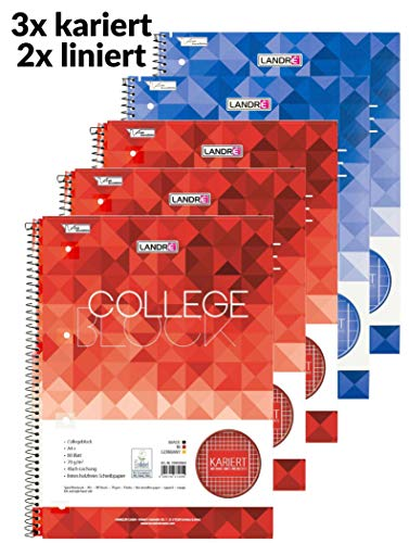 Landre Collegeblöcke A4, 3 karierte und 2 linierte Blöcke, 80 Blatt, 5er Pack