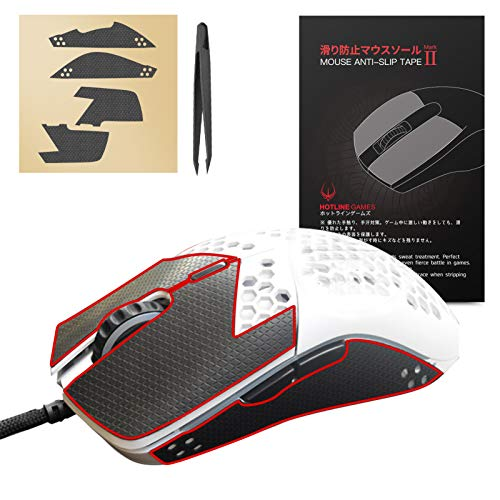 Hotline Games Mouse Anti-Slip Grip Tape for Glorious Model O / Model O Wireless Mouse Sweat Resistant Tape Pre Cut Mouse Side Anti-Slip Stickers Elastics Refined Side Grips (with Tweezers)