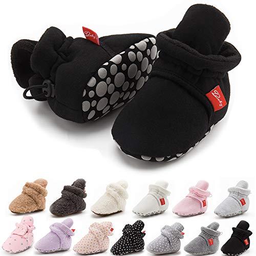 BiBeGoi Niemowlęta dziewczynki chłopcy bawełniane buty miękkie antypoślizgowe podeszwa zima ciepłe przytulne skarpety na pobyt na skarpetki dla noworodka malucha pierwsze spacery buty do łóżeczka, - A Czarny - 12-18 Miesiące