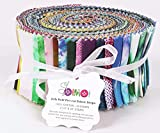 Soimoi 40Pcs Tie & Dye Print Thread Telef De Algodón Para Acolchar Las Tiras De Artesanía 2.5 X 42 Pulgadas Rollo De Jalea - Multicolor-0R