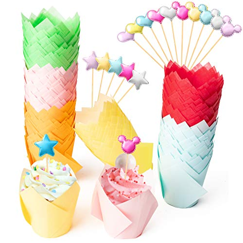 255Pcs Tulip Cupcake Liners Set Muffin Baking Cups Colorful Cupcake Baking Liners Holders for Dessert Rustic Cupcake Wrapper with Cupcakes Toppers Decor for Birthday Wedding Baby Shower Party