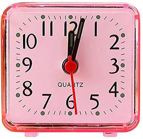 JeeKoudy Reloj Despertador con Pilas, Cuadrado, Cama pequeña, Viaje Compacto, Cuarzo, pitido, Linda cabecera portátil, luz de Fondo sin tictac, Dormitorio, hogar Apagado