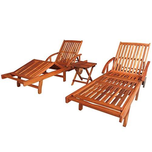 Festnight Ensemble de chaise longue et table 3 pcs Bois d'Acacia Marron