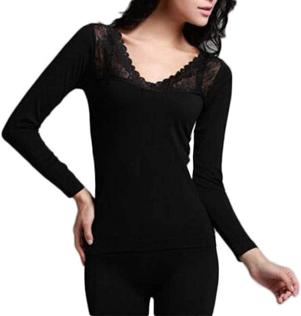 Women's Lace Stretch Seamless Thermal Underwear Set