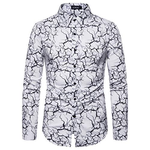 Camisa Estampada con Bloqueo de Color de Personalidad para Hombre, Camisa básica Informal de Manga Larga con Solapa y Corte Ajustado a la Moda XXL