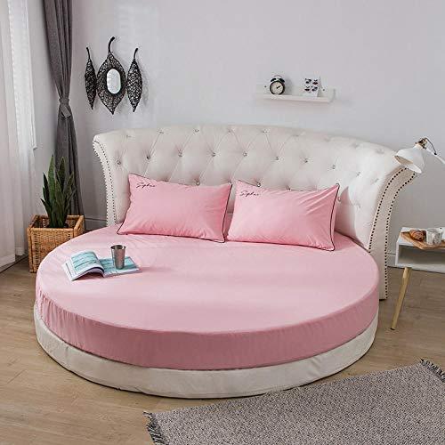 CYYyang Funda de colchón Anti chinches, Transpirable, Funda de Cama Redonda de algodón de una Pieza-Pink_Sakura Pink_2m