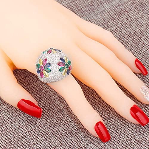 DOOLY Anillos súper Grandes de Novia pavimentados Zirconia latón Accesorios de joyería Compromiso Boda Cristal Anillos Brillantes para Regalo de Mujer