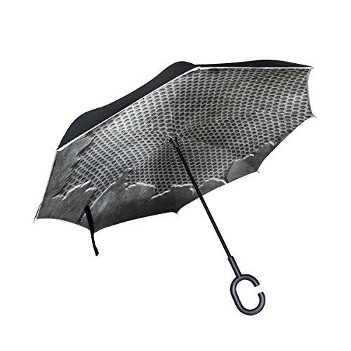 XiangHeFu Double Layer seitenverkehrt Rückseite Regenschirme Crack Metall Vorlage Hintergrund Texturen Faltbar Winddicht UV-Schutz Big Gerade für Auto mit C-Förmigem Henkel