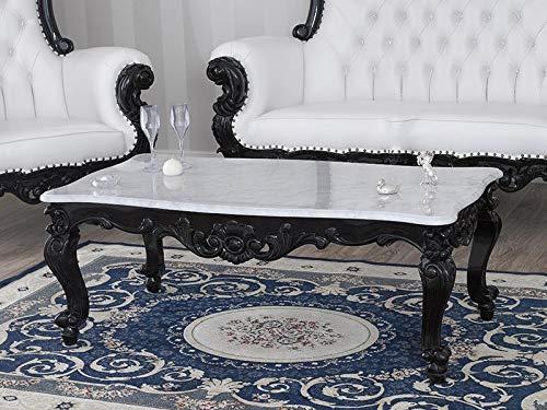 SIMONE GUARRACINO LUXURY DESIGN Table Basse de Salon Regina Style Baroque Dark Noir laqué marbre Blanc Carrara