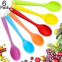 6 pezzi piccolo cucchiaio di silicone multicolore cucchiaio da cucina antiaderente cucchiaio da servizio in silicone mescolando il cucchiaio per cucina cottura mescolando strumenti di miscelazione