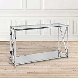 Uptown Club The Ellen Collection Modern Style Steel Frame Tempered Glass Top Living Room Console Table, Silver