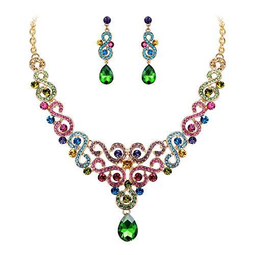 EVER FAITH Damen Schmuckset Kristall Hochzeit Blumen S-förmigen Teardrop Halskette Ohrringe Set Bunt Gold-Ton