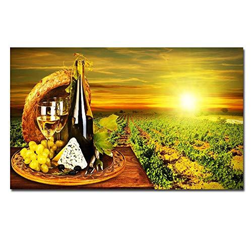 HD Gedrukt Canvas Art Druif rode Wijn Glas Eiken Vaten Zonsondergang Schilderen op Doek, Wandfoto's voor Woonkamer 70x115CM GEEN Frame