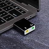 Liukouu Scheda Audio USB, Scheda Audio USB 2.0 ad Alta velocità, Adattatore USB, per Microfono PC Notebook per Cuffie(Black)