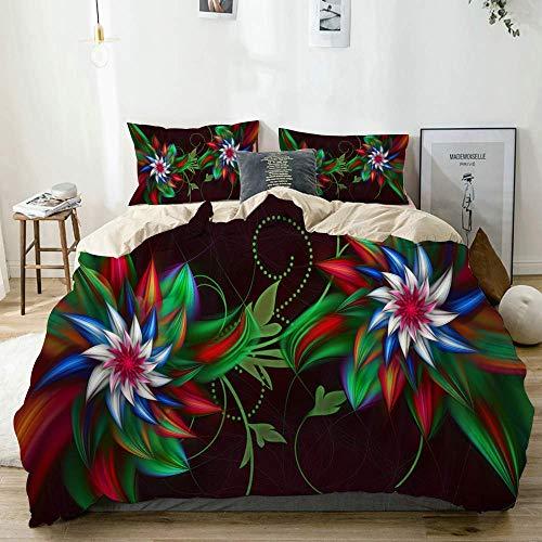 Smallgrid Bettbezug Set Beige, Grüne und Rote Blumen 3D Fractal Abstract Visuelle, dekorative 3-teilige Bettwäsche Set mit 2 Kissen Shams Pflegeleicht Antiallergisch Weich Glatt