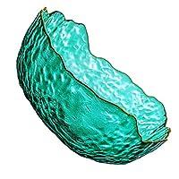 ABOOFAN ガラスサラダボウル透明カラフルな野菜果物ホルダーボウル容器米麺サービングボウル家庭用キッチン用品グリーン