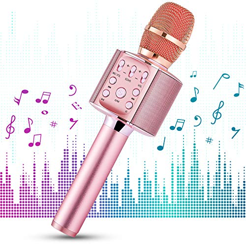 1byone Microfono Wireless per Karaoke KTV con Casse Bluetooth, karaoke speaker per Schede TF/Micro SD, LED, Effetti Echo e Batteria Integrata, Rosa