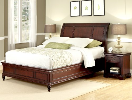 Home Styles Lafayette Cherry Queen Sleigh Bed and Nightstand with One Drawer, Open Storage, Head and Footboard, and Boldly Recessed Moldings