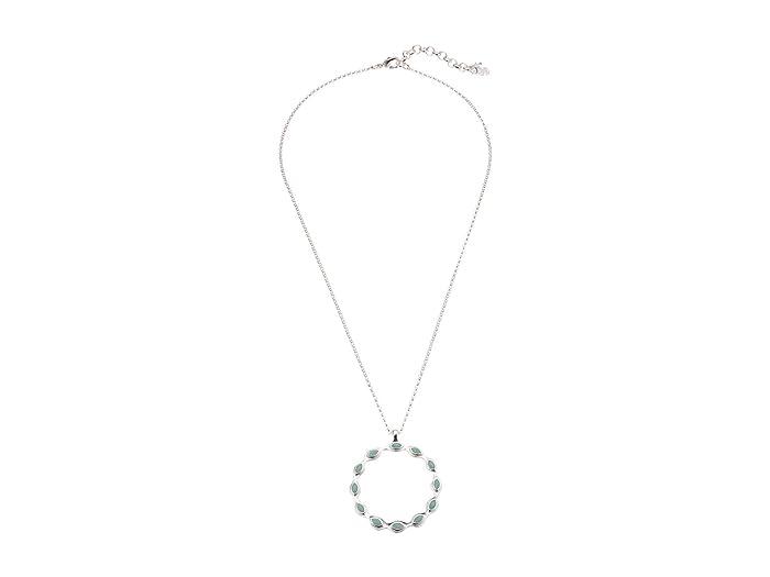Lucky Brand  Aqua Set Stone Round Pendant Necklace (Silver) Necklace