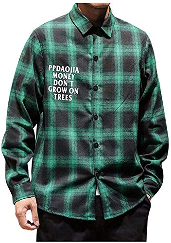 Latoshachase Plaid Shirts for Men,Sale New Casual Fashion Printing Loose Fit Hoodie Long Sleeve Shirt Tops Lightweight Coat