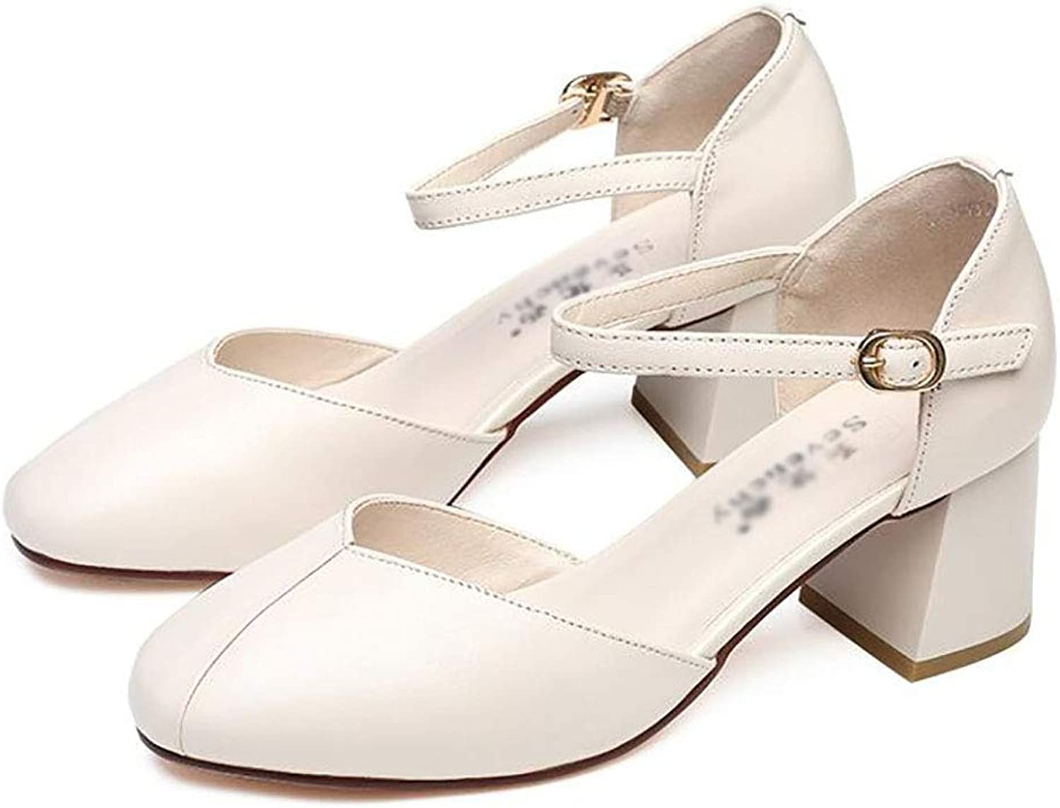 Women's shoes, one-Button shoes, Thick Heel, mid-Heel shoes (color   B, Size   40)