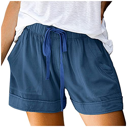 Womens Summer Beach Shorts Elastic Waist Drawstring Quick-Dry Running Shorts Sport Active Workout Shorts with Pockets