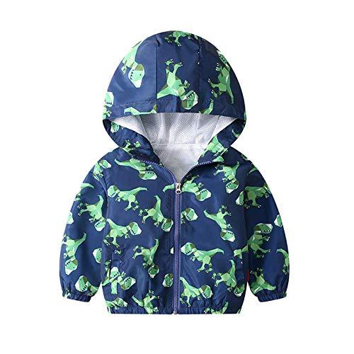 JinBei Giacche e Cappotti Ragazzo Dinosauro Cappotto Giacca a Vento Con Cappuccio Sottile Bambino Verde Cerniera Lampo Primavera Autunno Protezione Solare Vestiti Impermeabile Abbigliamento 4-5 Anni