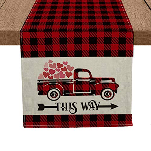Artoid Mode Love Buffalo Love Heart Truck Table Runner, Seasonal Valentine's Day Anniversary Wedding Holiday Kitchen Dining Table Runners for Home Party Decor 13 x 72 Inch