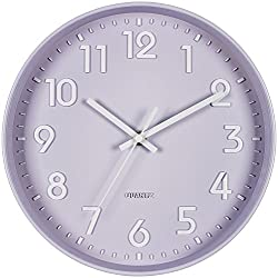 Bernhard Products Purple Wall Clock 10 Inch, Silent Non-Ticking, Quality Quartz 3D Numbers Battery Operated Round Pretty Clock for Bedroom/Kitchen/Office/Nursery Room