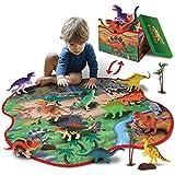 GILOBABY 恐竜おもちゃ 恐竜フィギュア 2IN1恐竜 おもちゃ マット 収納ボックス 恐竜遊び リアルな恐竜おもちゃ 樹木 ロック 創造できる恐竜公園 女の子 男の子 おもちゃ 知育玩具 子供の誕生日ギフト