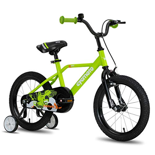 CYCMOTO 14' Kids Bike with Hand Brake & Training Wheels for 3 4 5 Years Boys, Toddler Bicycle Green