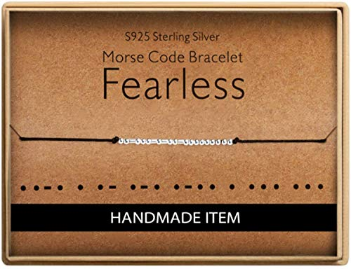 Birthday Gifts for Friends Morse Code Fearless Bracelet 925 Sterling Silver Handmade Bead Adjustable String Bracelets Inspirational Jewelry for Women