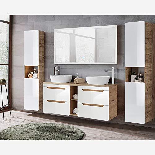 Lomadox Badmöbel Komplett Set Hochglanz weiß mit Wotaneiche, 140cm Waschtisch-Unterschrank mit 2 Keramik-Waschbecken, 140cm LED-Spiegel, 2 Hochschränke