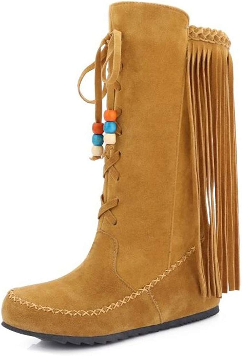 CHENSF Women's Winter Lace UP Suede High Boots Snow Boots with Tassel