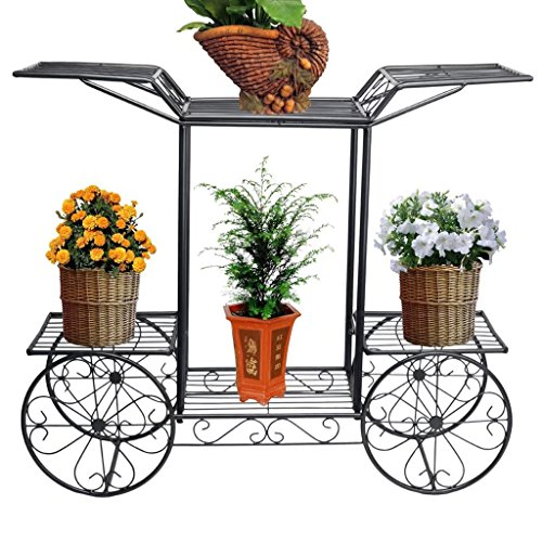 KK- Metal Black Flower Cart Rack Display Garden Tree Home Decor Support de support de patio de plantes (noir)