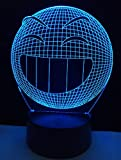 Lámpara de escritorio de mesa táctil con luz nocturna 3D, caries, 7 colores LED ilusión óptica NightLight con control remoto y cable USB, regalo de Navidad para adolescentes