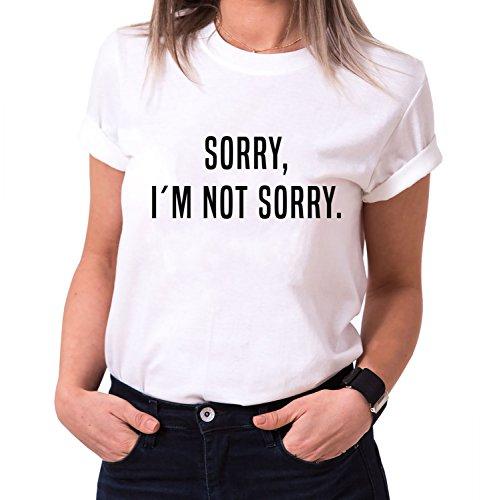 Sorry I´M NOT Sorry Trendiges Damen T-Shirt Girlie Kurzarm Baumwolle mit Druck, Farbe:Weiß;Größe:M