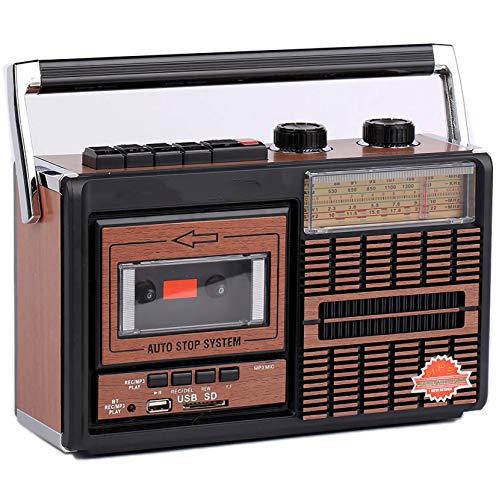 LPWCAWL Radio Vintage, Altavoz Inalámbrico Bluetooth, Radio Multifunción con Frecuencia FM/AM/SW1/SW2, Modo De Reproducción USB/Casete De Audio/Tarjeta SD