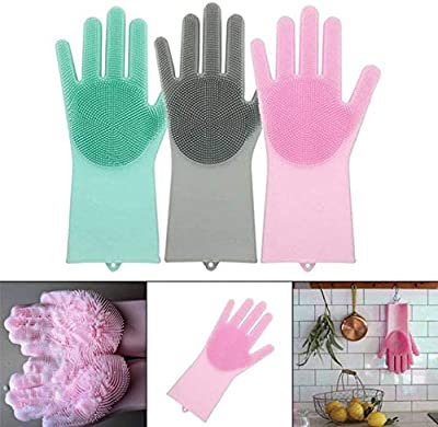 Albela Magic Silicone Gloves with Wash Scrubber, Reusable Brush Heat Resistant Gloves Kitchen Tool for Cleaning, Dish Washing, Washing The Car, Pet Hair Care - 1 Pair (Random Colour)