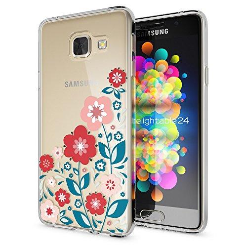 NALIA Custodia compatibile con Samsung Galaxy A3 2016, Protezione Silicone Cover Trasparente Sottile Case, Gomma Morbido Cellulare Ultra-Slim Protettiva Bumper Guscio, Designs:Spring Flowers