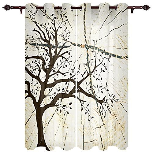 VBUEFM Schlafzimmer Gardinen Blickdicht Weißer brauner Baum des Lebensmusters 140x250cm x2 100% Verdunkelungsvorhang mit Ösen für Raum Abdunkeln Fenster Vorhänge Blickdichter Vorhang
