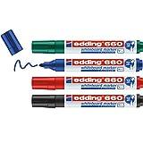 Edding 660 marcador para pizarras blancas - multicolor - juego de 4 rotuladores - punta redonda 1.5-3 mm - rotulador para pizarra blanca, borrado en seco - flipchart, tablón de notas - recargable