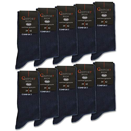10 Paar Damen & Herren Comfort Socken ohne Gummi Baumwolle ohne Naht mit Komfortbund Schwarz Navy Jeans (35-38, 10 x Navy)