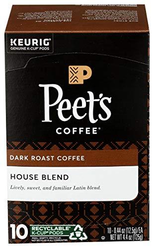 Peet's Coffee House K Cup Coffee Pods for Keurig Brewers, Dark Roast, 10 Pods, 4.4 oz